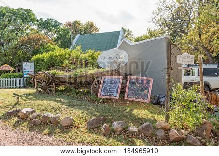 GREYTON SOUTH AFRICA - MARCH 27 2017: A display in front of the Vanilla Cafe a restaurant in Greyton a small town in the Western Cape Province of South Africa