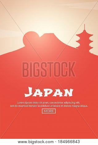 Travel Poster To Japan. Landmarks Silhouettes. Vector Illustration.