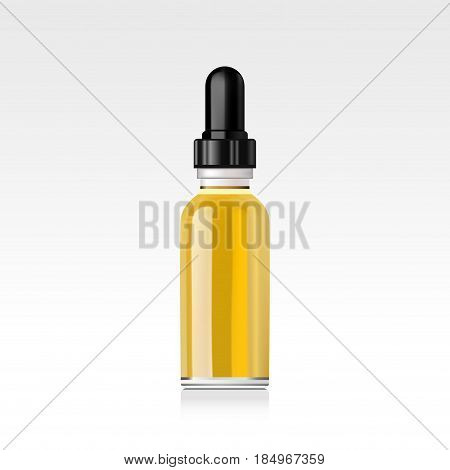 Realistic essential oil bottle. Mock up. Cosmetic vial, flask, flacon. Container for perfume. Medical bank. Cosmetic dropper-bottle for serum. Prescription bottle. Collagen serum