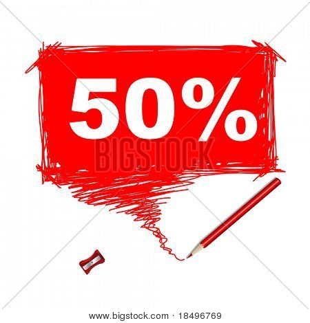 Vector - Illustration of a red pencil with a word bubble for text insertion 50%