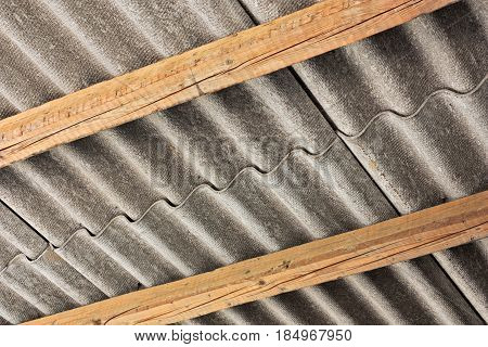 asbestos cement panel, pollution source - wavy roof cover on pollutant eternit panels