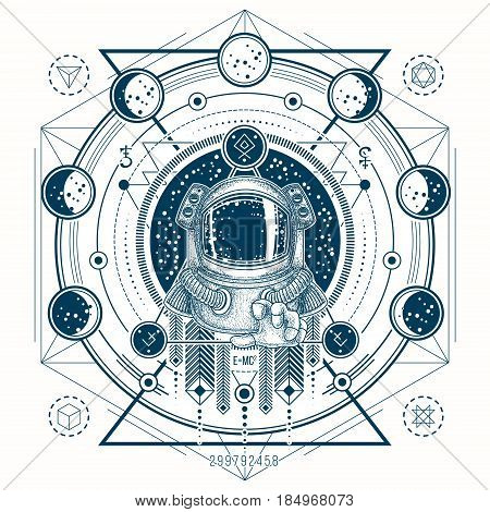 Vector illustration of a astronaut in a space suit in the background of a night starry sky, geometric sketch of a tattoo with moon phases. Print