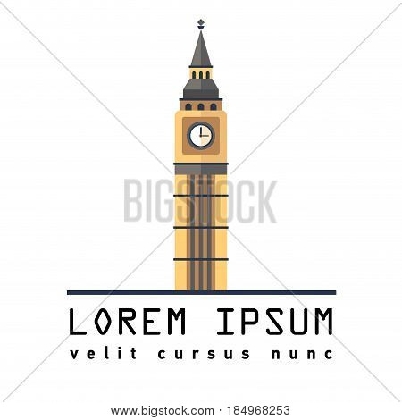 Symbol of London tower Big Ben. Great Bell of the clock of the Palace of Westminster. England Destinations. Elizabeth Tower. Prominent symbols