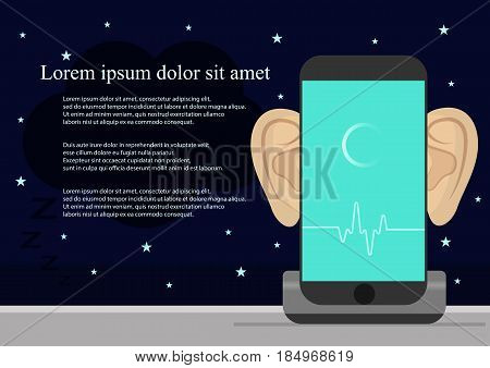 Smartphone with ears, recording audio on screen. Concept of security and protection of electronic virtual information in gadgets and social networks and Smart alarm clock.Vector illustration.