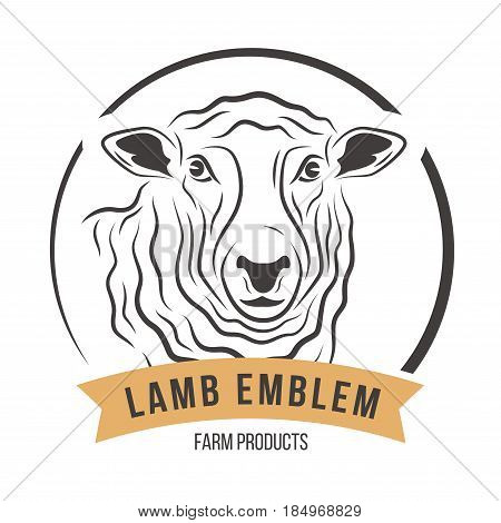 Lamb head silhouette emblem logo label. Vector illustration.