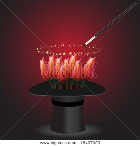 Vector - Magic performance with wand swirling over a top hat with a bunch of tulips