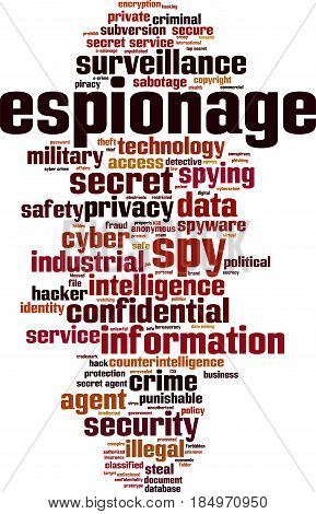 Espionage word cloud concept. Vector illustration on white