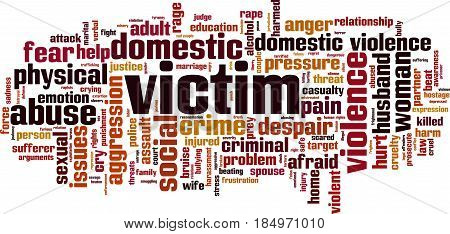Victim word cloud concept. Vector illustration on white