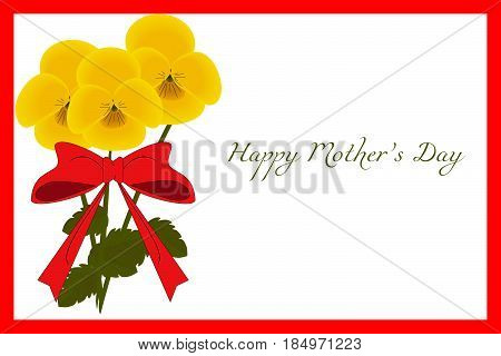 Floral postcard with red frame and yellow Pansies flowers for Mother's Day vector eps 10