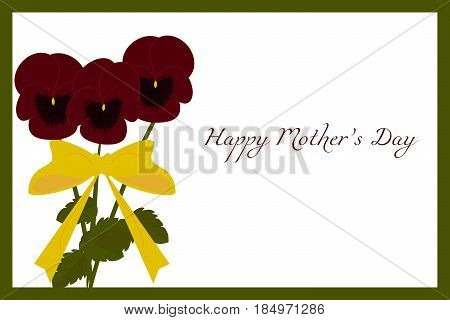 Floral postcard with green frame and dark red Pansies flowers for Mother's Day, vector, eps 10