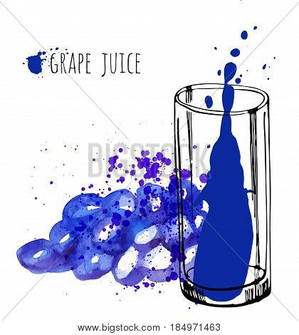Grape juice vector illustration. Watercolor sketch about grape drink and fresh juice. Hand draw health grapes drink. Vector illustration isolated on white background.