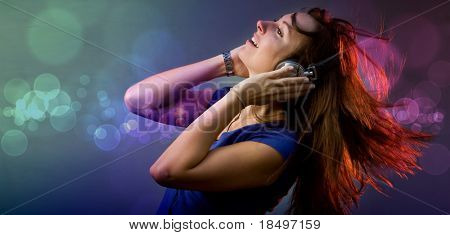 Young girl having fun at a disco or nightclub with retro headphones listening to music poster