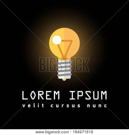 Thin line icon with flat design element of innovation success idea, powerful electric lightbulb, power bright lamp, light bulb energy. Modern style logo