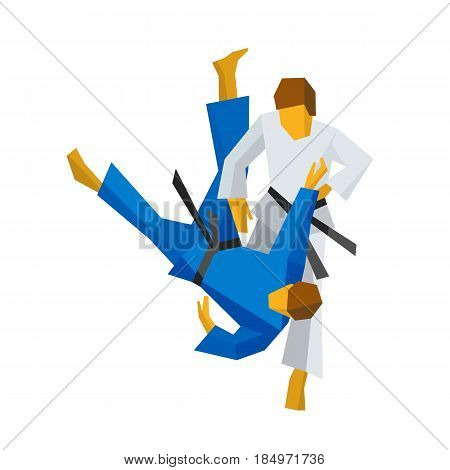 Two judo fighters in traditional blue and white colors. Martial arts competition - sambo, judo, karate, jiu jitsu, wrestling. Flat vector clip art isolated on white background