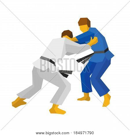 Two judo fighters in traditional blue and white colors. Martial arts competition - sambo, judo, karate, jiu jitsu, wrestling. Flat style vector clip art isolated on white background.