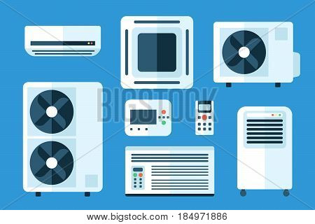 Vector illustration set of different air conditioners indoor and outdoor units. Flat style.