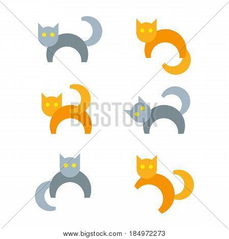 Set of gray and orange cartoon cats in different poses. Simple flat animal icons isolated on white background. Funny pets symbols.