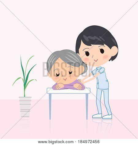 chiropractor woman massage scene Cute   Flat Illustration
