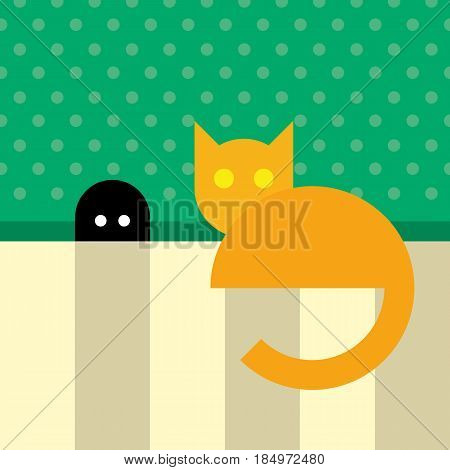 Funny orange cat sitting near mouse hole. Mouse eyes shine in a hole. Simple flat vector clip art.