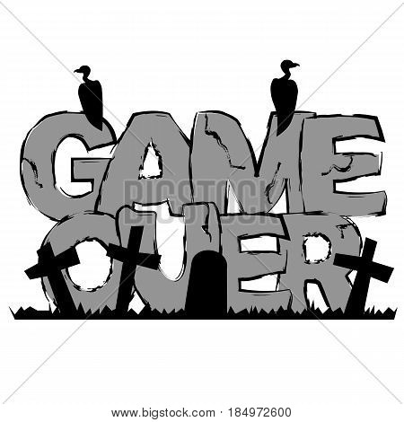 Gray text 'Game over' with graves and vultures. Interface message - final text. Vector lettering isolated on white. Simple grayscale design element.