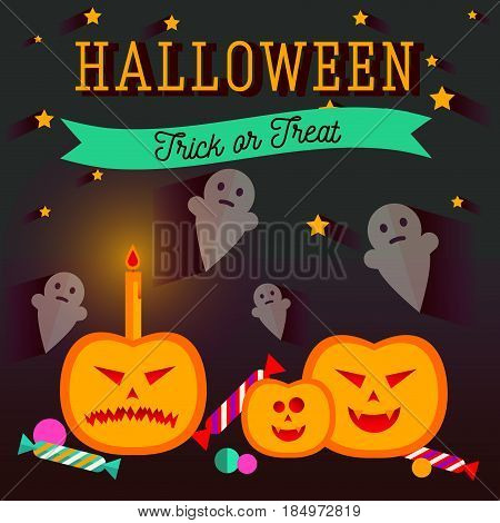 Set of halloween flat icons. Orange pumpkin and candle, witches pot potion, ghost, candy, skull and crossbones. Invitation, poster or card for Halloween Night Party. Trick or Treat.