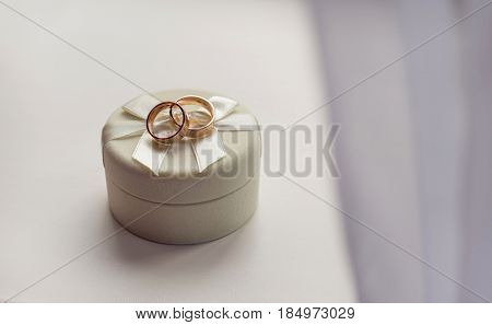 Wedding rings on a box.