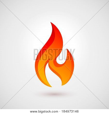 Fire Icon in Flat Style with Shadow. Illustration for Web Site Design