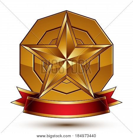 Heraldic Golden Symbol With Stylized Pentagonal Star And Red Decorative Curvy Ribbon, Best For Use I