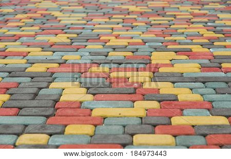 Paving tiles colored bricks paved on the street
