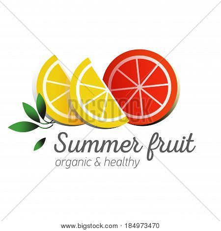 Flat logo or fruit symbol. Typography. Icon healthy diet. Stewed fruit. Orange with lemon slices and green leaves. Summer fruit
