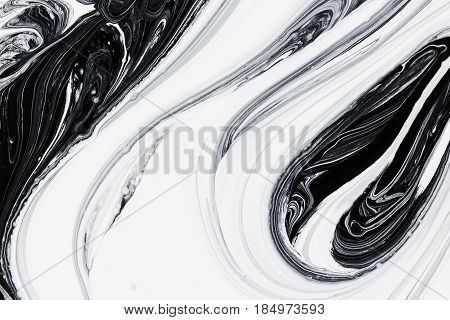 abstract background pattern texture white and black mineral oil marble painting on water stone blob concept