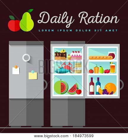 Vector open fridge full of healthy fresh food. Natural vegetables and fruit in flat style. Diet or lifestyle illustration. Daily meal, organic ration. Kitchen staff