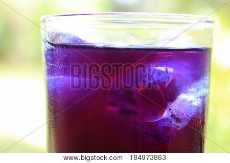 close up of cool butterfly pea juice look fresh and sweet