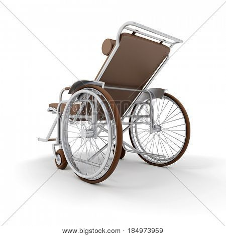 3D rendering of a brown chaise longue wheelchair