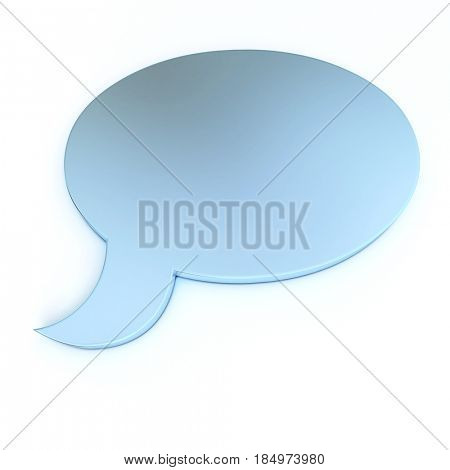 3D rendering of a speech bubble in blue
