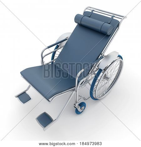 3D rendering of a gray blue chaise longue wheelchair