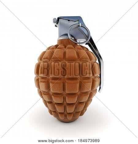 Chocolate hand grenade 3D rendering