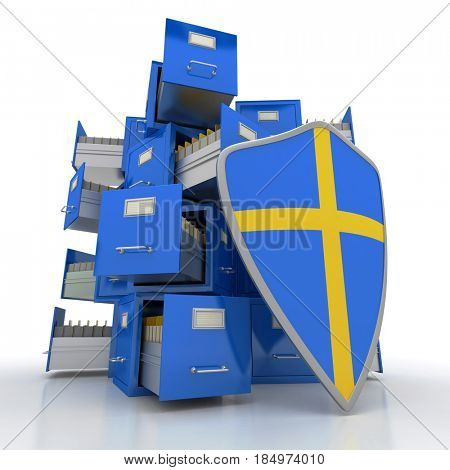 Composition of file cabinets and a protective shield 3D rendering