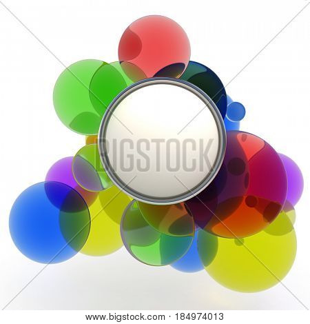 Abstract colorful shapes ideal for inserting message 3D rendering