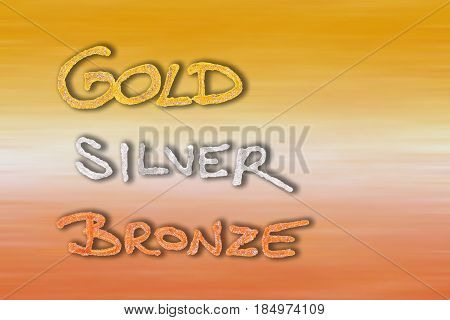Gold silver bronze as positions on gold silver bronze background.