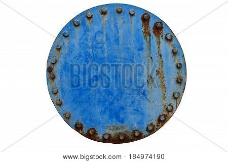 rusty blue pipe joint dicut white isolated