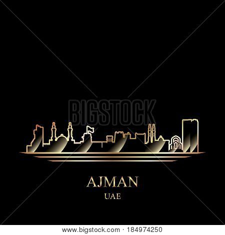 Gold Silhouette Of Ajman On Black Background