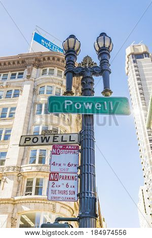 San Francisco CA USA october 2016: Sign of Powell Street in San Francisco. Powell Street is located next to Union Square and the most popular attractions including the cable cars.