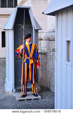 Swiss Guard In Their Traditional Uniform.