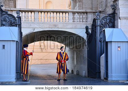 Swiss Guards In Their Traditional Uniform.