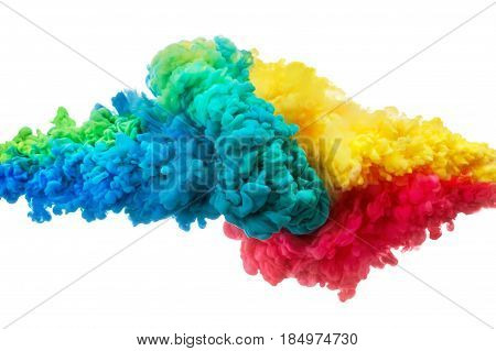 Colorful acrylic ink in water isolated on white. Abstract background. Color explosion liquid cloud in motion
