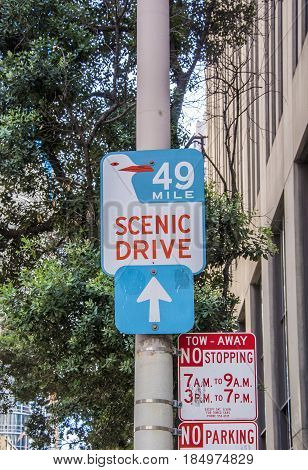 San Francisco, CA, USA, october 2016: sign of scenic drive 49 mile in San Francisco