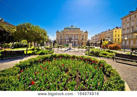 Croatian National Theater In Rijeka Square View