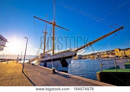 Wooden Boat In Rijeka Waterfront Harbour