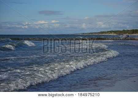 Tidal wave on the Baltic sea with views of the Curonian spit
